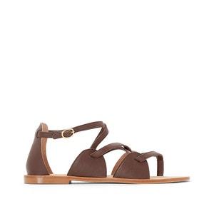 Skórzane sandały ze skrzyżowanymi paskami R studio