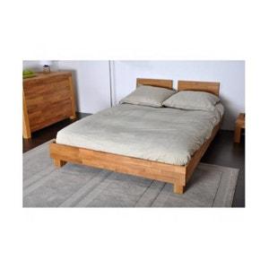 Lit 140x190 cm et 2 têtes de lit en chêne massif CASTA DECLIKDECO