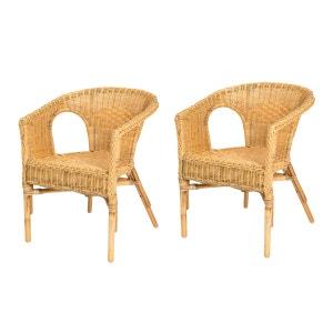 Lot de 2 fauteuils en rotin CHRIS miel - Rotin Design ROTIN DESIGN