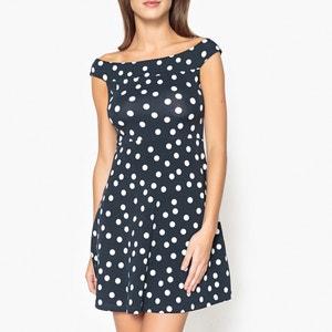 Polka Dot Cold Shoulder Dress LIUJO