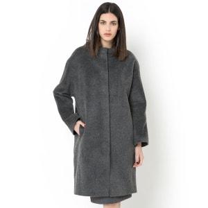 Abrigo forma ovoide de lana peluda LAURA CLEMENT