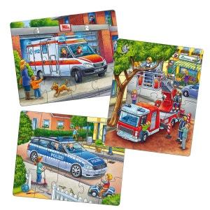 Puzzles 12 à 18 pièces : 3 puzzles véhicules de secours HABA