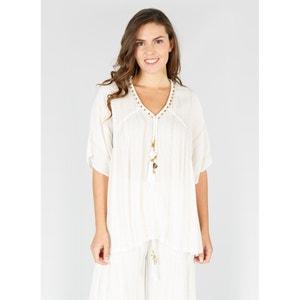 Effen blouse met V-hals en korte mouwen RENE DERHY