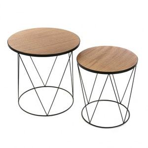 Set de 2 tables basses rondes   noir Black Wire Versa VERSA