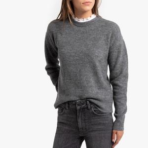 Trui met ronde hals met volantkraag, in fijn tricot