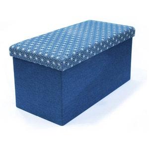 Coffre rangement banc pliable bleu DOTTY DECLIKDECO