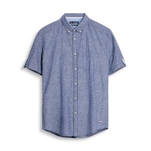 Koszula z krótkimi rękawami - bawełna i len ESPRIT