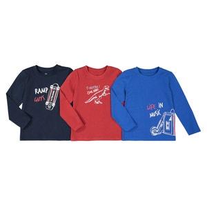 Set van 3 bedrukte T-shirts met lange mouwen, 3-12 jaar
