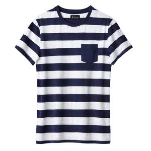 Cotton Mix Striped Crew Neck T-Shirt La Redoute Collections