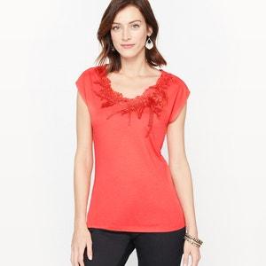 T-shirt guipure et coton modal ANNE WEYBURN