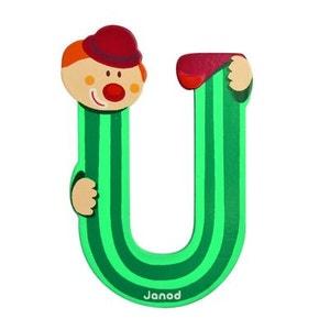Lettre décorative clown en bois : U JANOD