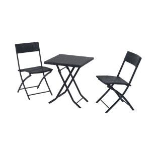 Ensemble meubles de jardin design table carré et chaises pliables résine tressée métal noir - OUTSUNNY OUTSUNNY
