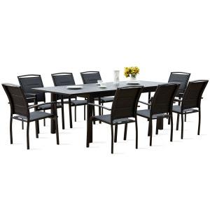 Table de jardin extensible et 8 fauteuils BOUTIQUE-JARDIN