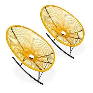 Ensemble de 2 fauteuils à bascule Acapulco chaise oeuf design rétro rocking Jaun ALICE S GARDEN