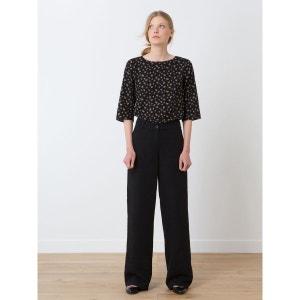 Pantalon femme large tissu natté coton/lin, HAROUE SOMEWHERE