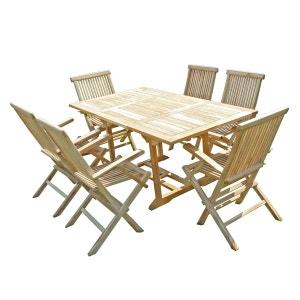 Ensemble salon de jardin en teck SERANG 6 fauteuils pliants C ET L JARDIN