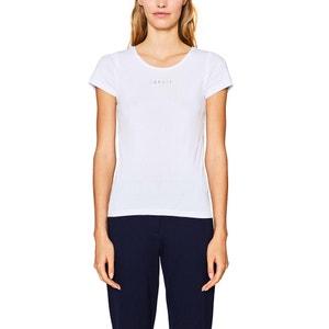 T-shirt con scollo rotondo tinta unita, maniche corte ESPRIT