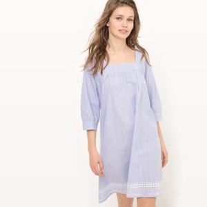 Gestreiftes Kleid, quadratischer Ausschnitt, bestickt MADEMOISELLE R