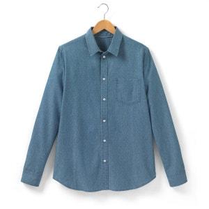 Camisa denim estampada, manga larga SOFT GREY