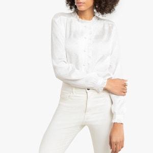 Jacquard blouse, opstaande kraag met volant