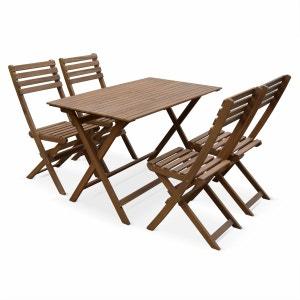 Table de jardin en bois 120x70cm - Madrid - Table bistrot pliante rectangulaire en acacia avec 4 chaises pliables ALICE S GARDEN
