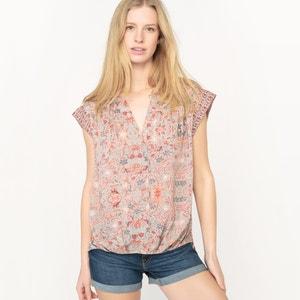 Short-Sleeved Floral Print Blouse SEE U SOON