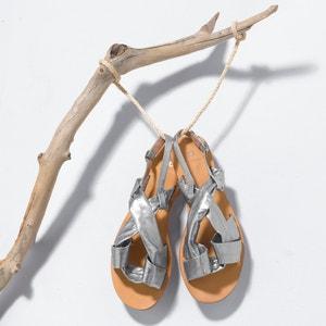 Sandálias rasas, pele, nós R studio