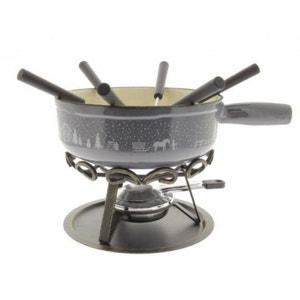 table&cook - service à fondue 6 fourchettes gris - frise hiver gris TABLE&COOK