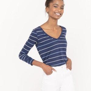 T-shirt rayé, coton/modal R essentiel