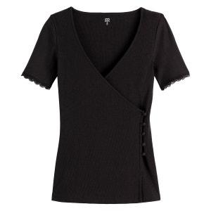Camiseta con cuello de pico, efecto cruzado