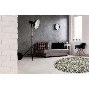 Tapis rond naturel en laine feutrée épais pour salon gris Missi DELADECO