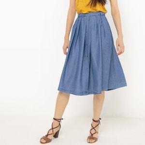 Plain Pleated Knee Length Skirt SUNCOO