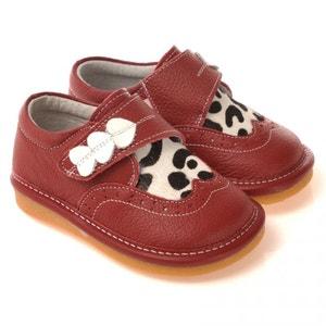 Chaussures à sifflet   Babies rouges 3 coeurs blanc vache CAROCH