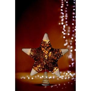 Cimier lumineux pour Sapin de Noël Etoile - Rotin et métal FEERIE CHRISTMAS