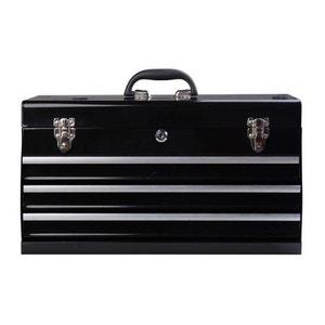 Coffret caisse boite à outils métallique avec 3 tiroirs noirs 54 x 22 x 29 cm - HOMCOM HOMCOM