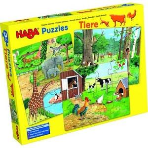 Puzzles 12 à 18 pièces : 3 puzzles : Les animaux HABA