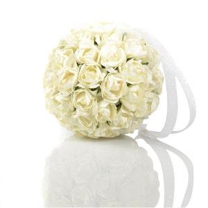 Boule de roses artificielles - Diam. 9 cm - Blanc ATMOSPHERA