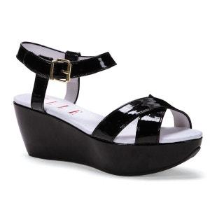 Leather Platform Sandals with Ankle Strap ELLE