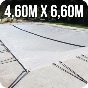Bâche d'hivernage PVC beige 580g/m² pour piscine enterrée 4m x 6m + accessoires LINXOR