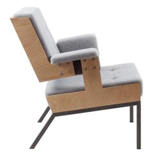 Fauteuil Lounge 2 feutre gris acier et bois ALEX DE ROUVRAY DESIGN