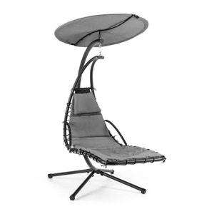 Blumfeldt Dahlia Noble Grey Chaise longue suspendue 200cm + pare soleil métal BLUMFELDT