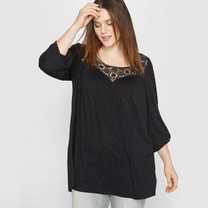 T-shirt fluida, parte superior em macramé CASTALUNA