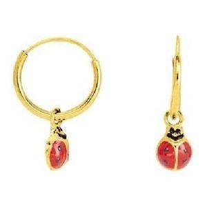 Boucles d'oreilles Créoles Enfant Coccinelle Laquée Rouge & Noir - Or Jaune 375/000 (9 carats) SO CHIC BIJOUX