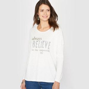 Camiseta en dos tejidos, viscosa flameada ANNE WEYBURN