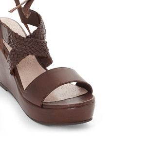 Sandalen met sleehak in leer CASTALUNA