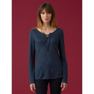 T-shirt femme en jersey de lin à col tunisien lacé, IITOMI SOMEWHERE