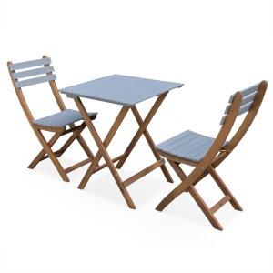 Table de jardin 60x60cm - Barcelona Bois / Gris clair - Table bistrot pliante bicolore carrée en acacia avec 2 chaises pliables ALICE S GARDEN