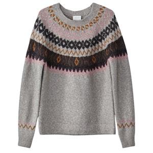 Sweter, okrągły dekolt, dzianina o drobnym splocie VILA
