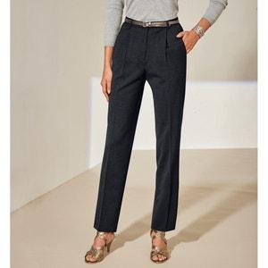 Bi-rekbare broek met plooien, binnenpijplengte. 78cm ANNE WEYBURN