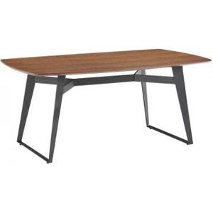 Table en bois hévéa SENSA 180cm plateau noyer clair et pieds noirs DECLIKDECO